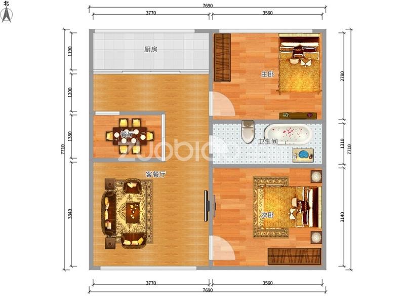 鵬城小區 2室2廳 178萬