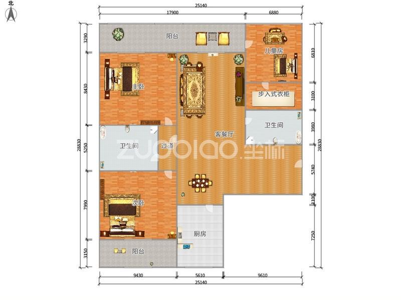 金色家园 3室2厅 218万