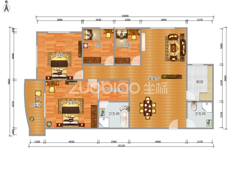 世纪公寓 4室2厅 445万