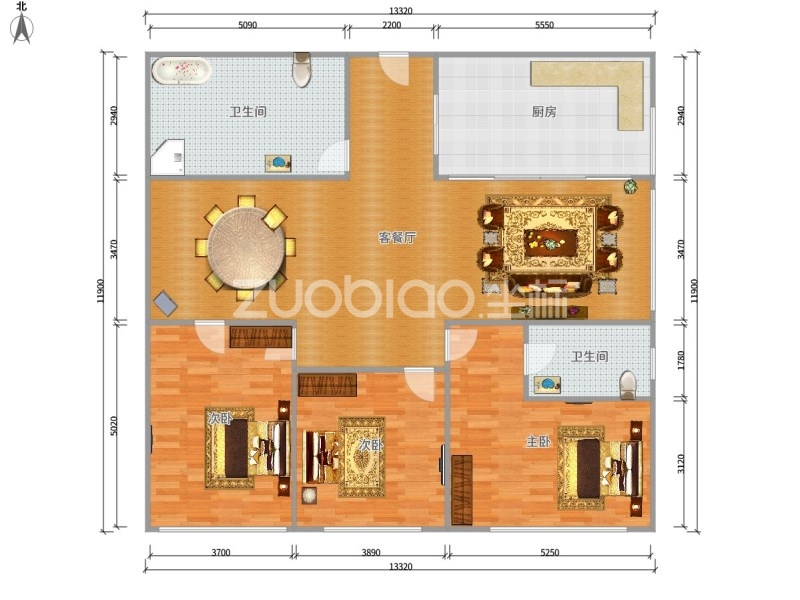 东方大厦 3室2厅 330万