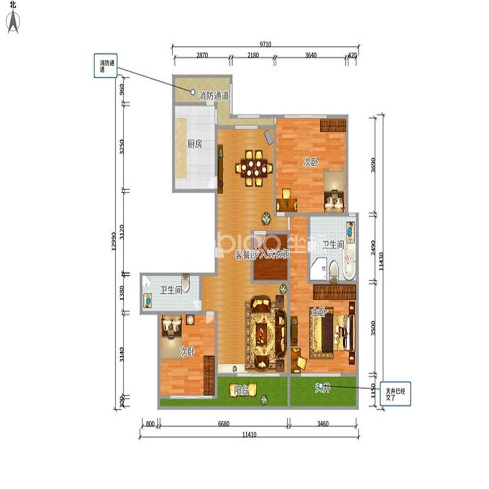 绿城玫瑰园 3室2厅 435万