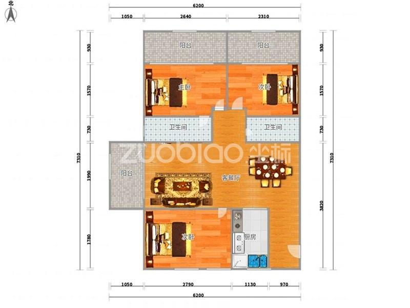 紫荆公寓 3室2厅 180万