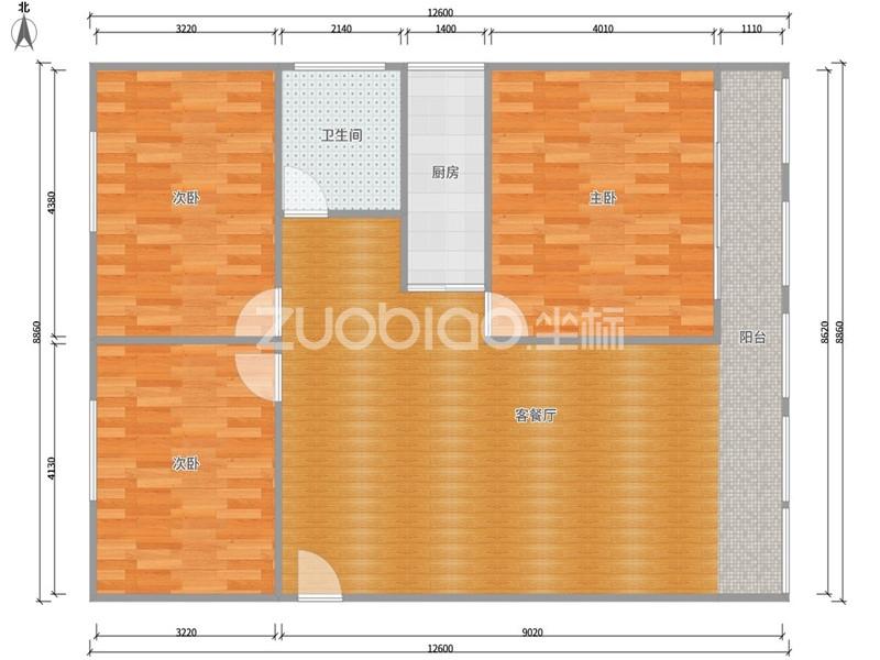 陶然轩 3室1厅 128万