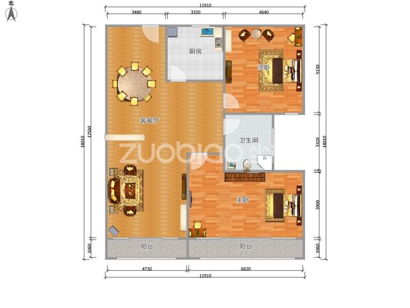 城北商业中心 2室1厅 185万