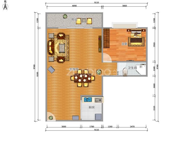 紫荆公寓 2室1厅 89万