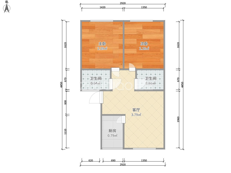 福田一区 2室2厅 216万