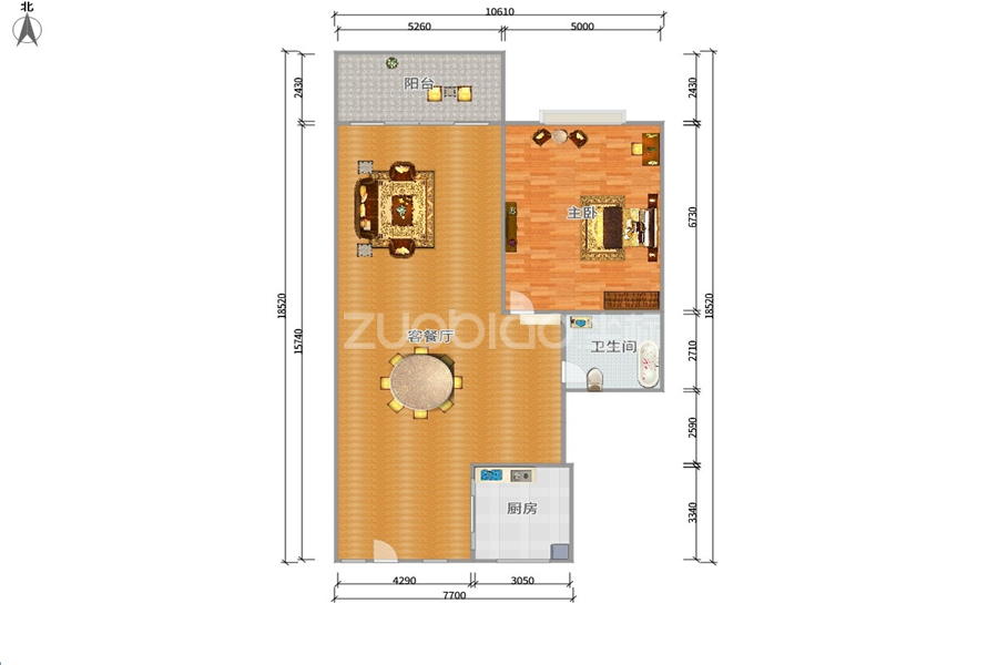 紫荆公寓 3室1厅 92万