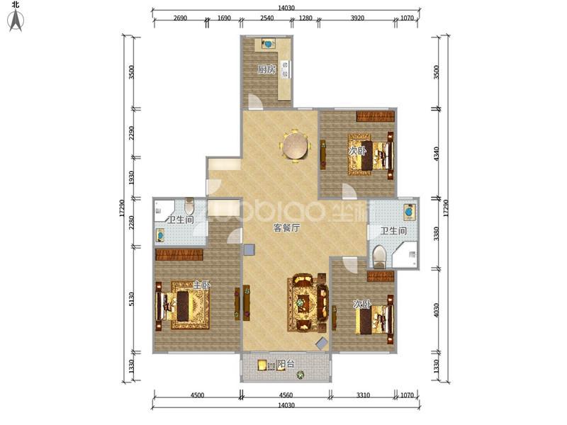 南洲花园(紫藤苑) 3室2厅 278万