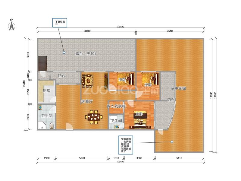 世纪公寓 3室2厅 410万