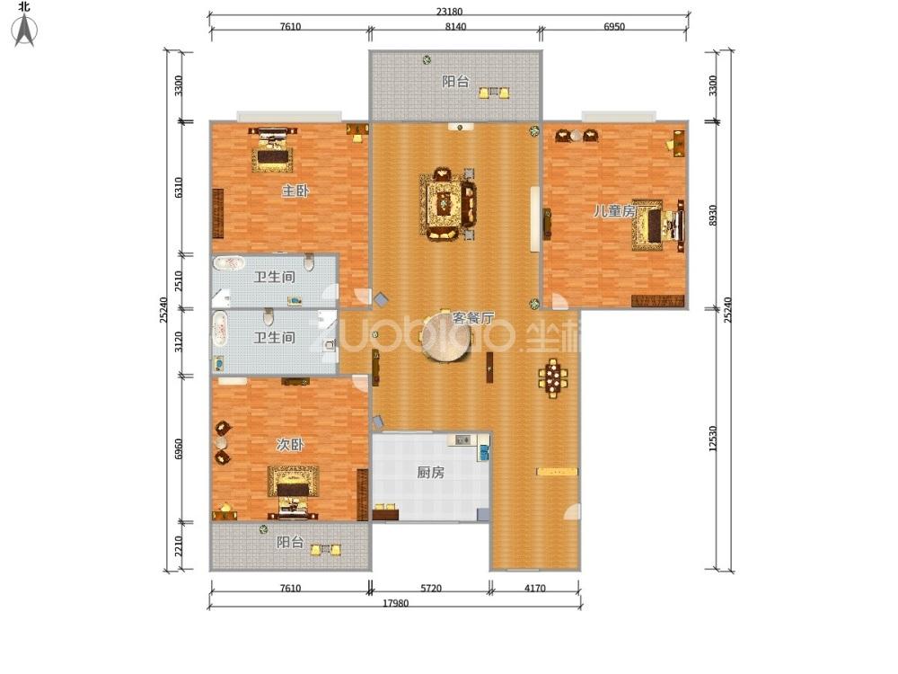 名人花园 3室2厅 275万