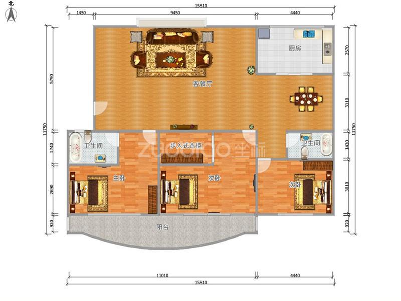 通惠门 3室2厅 375万