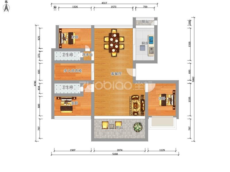 万达广场 3室2厅 399万