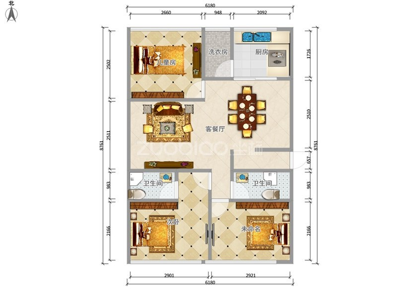世贸中心 3室2厅 480万