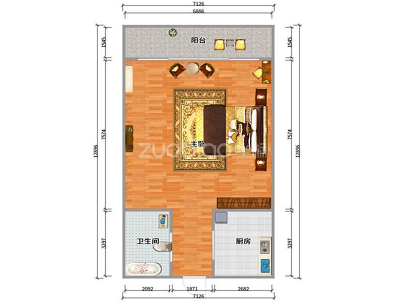 紫荆公寓 2室2厅 68万