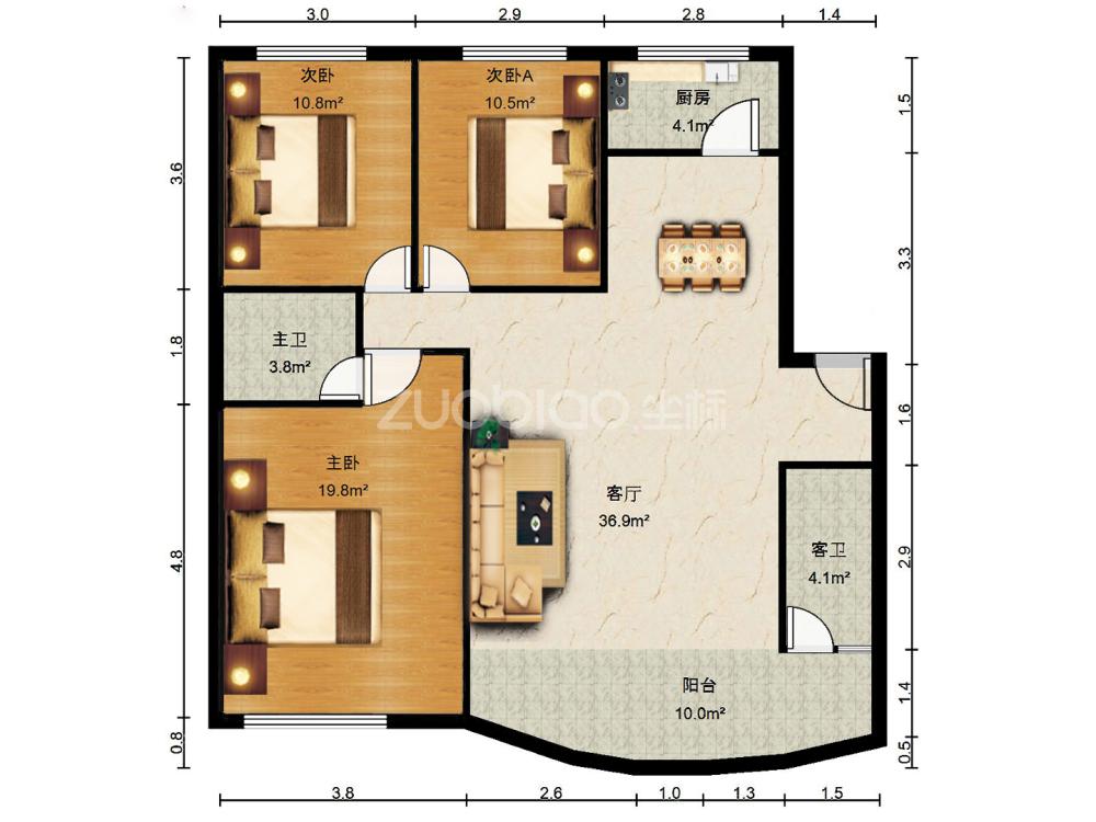 曲苑小区 3室2厅 326万