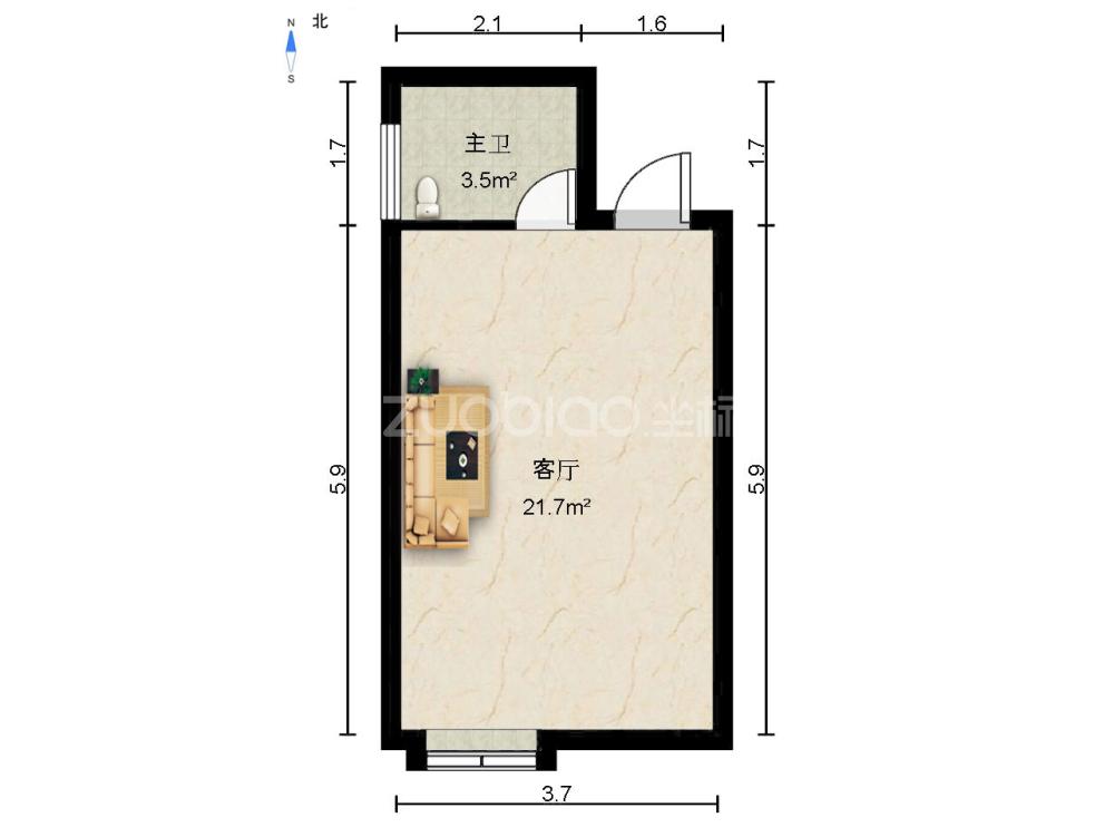 白金公寓 1室1廳 197萬