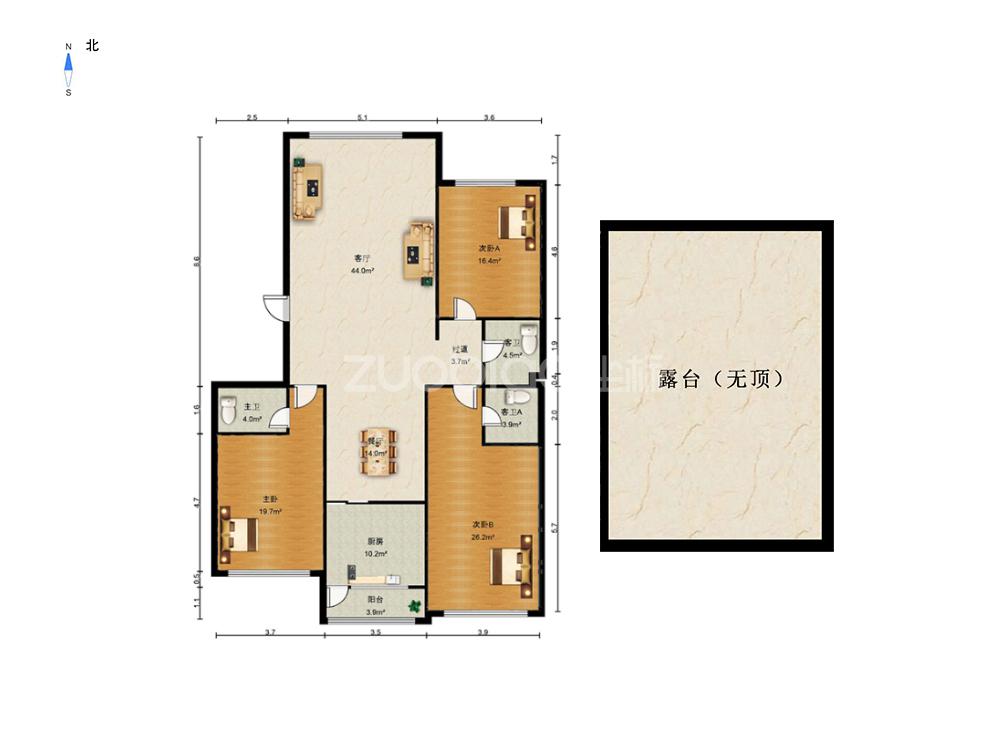 西城路 3室2厅 555万