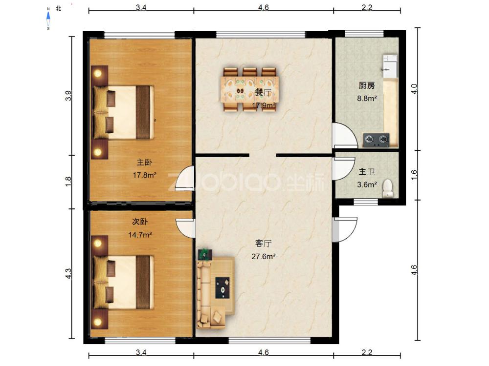 建設二村 3室2廳 510萬