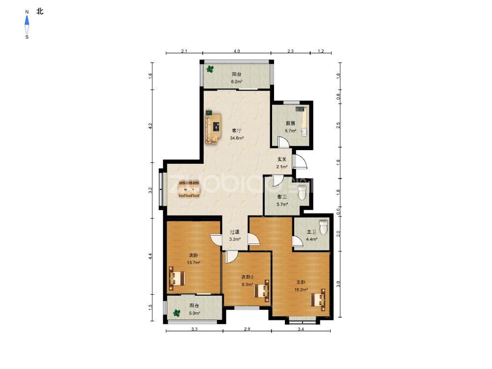 南洲花園(紫藤苑) 3室2廳 325萬