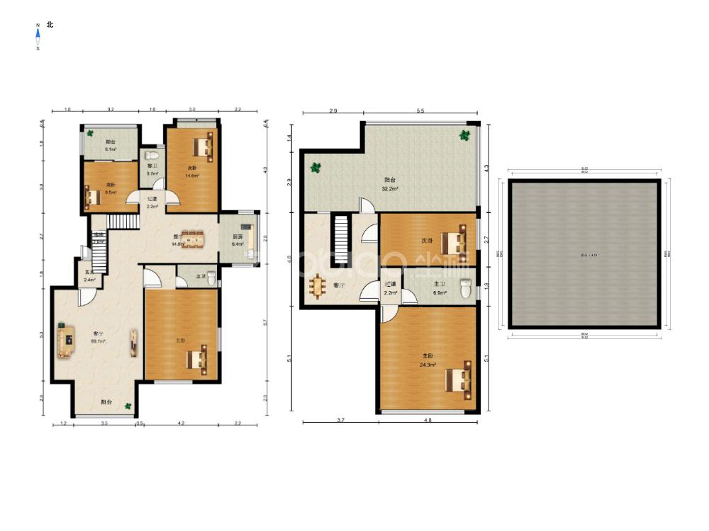 国际村 5室2厅 530万