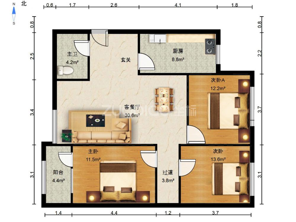 詞林小區 3室2廳 375萬