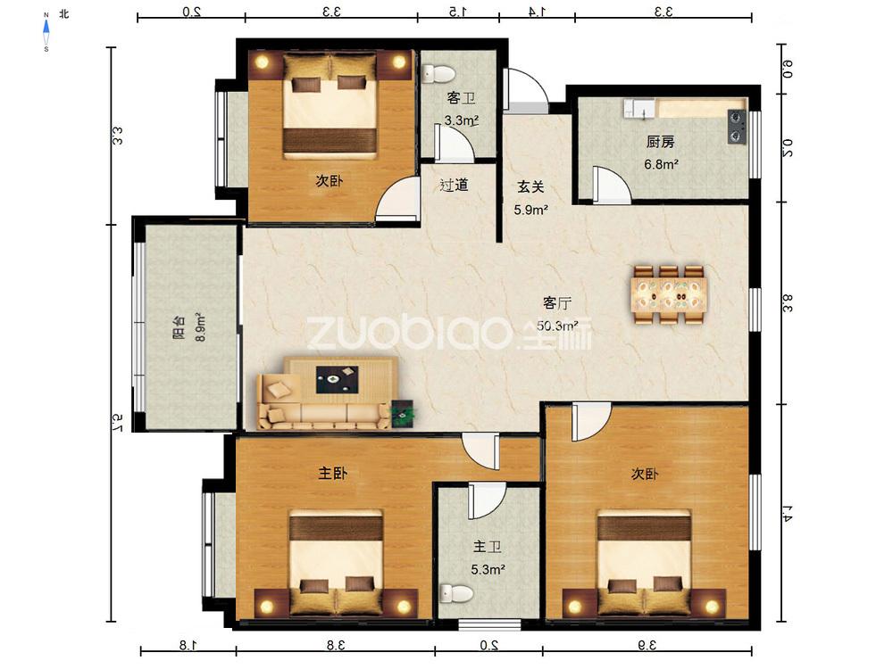 建設二村 3室2廳 520萬