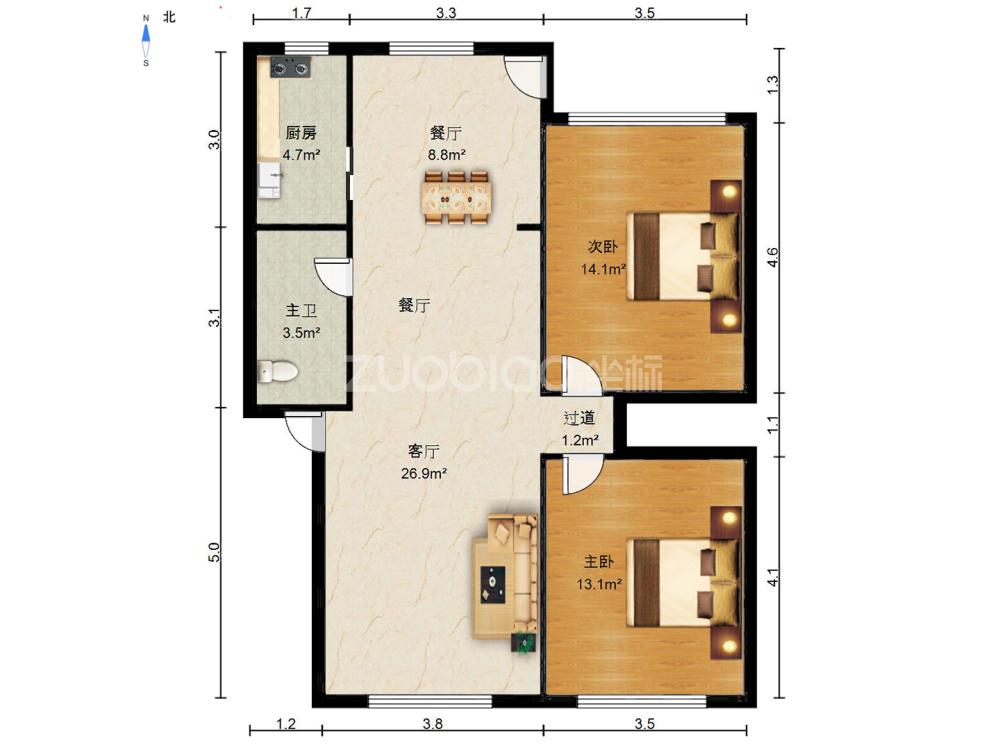 菊園小區 2室2廳 390萬