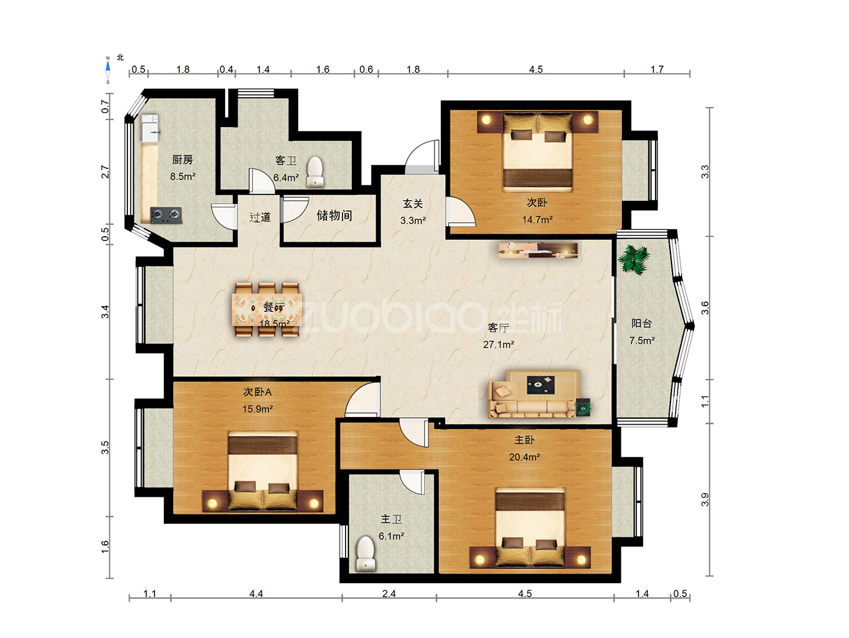 新科花园 3室2厅 335万